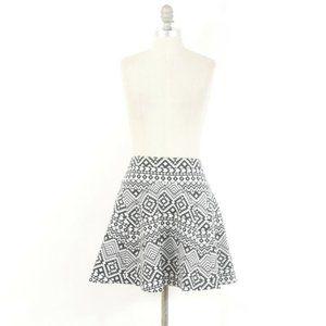 Parker Black & White Tribal Print Skater Skirt